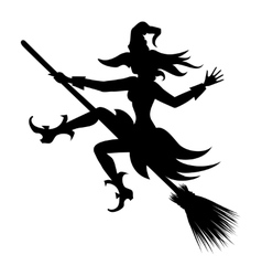 flying witch silhouette vector image vector image