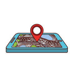Navigation gps device and city map with pins vector