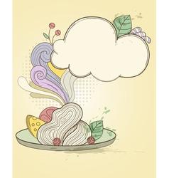 retro hand drawn plate of pasta vector image