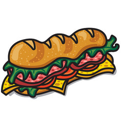 sandwich with lettuce and bacon vector image