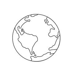 symbol of earth thin line icon vector image vector image
