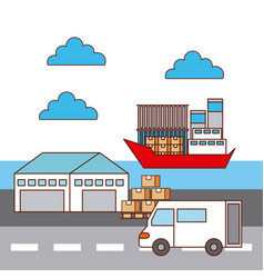 warehouse van car and ship logistic transport vector image