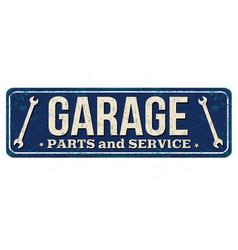 Garage vintage rusty metal sign vector