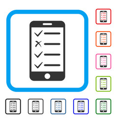 mobile checklist framed icon vector image vector image