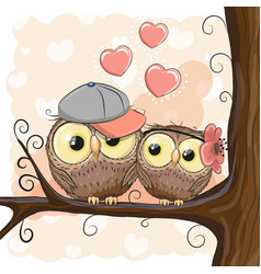 two cute cartoon owls with hearts vector image vector image