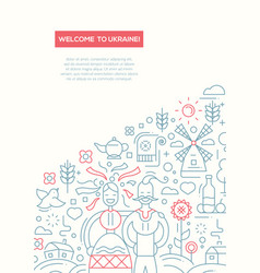 welcome to ukraine- line design brochure poster vector image vector image