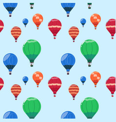 Colorful air balloons baskets flying seamless vector