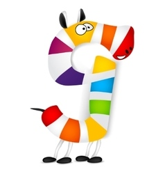 Number nine Made of colorful animal cartoon vector image vector image