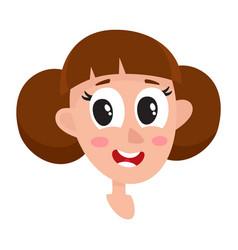 Pretty brown hair woman wow facial expression vector