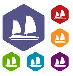 vietnamese junk boat icons set vector image