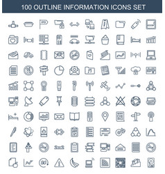 100 information icons vector