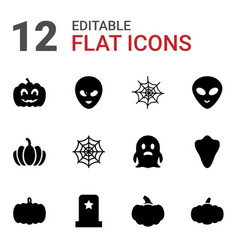12 halloween icons vector image