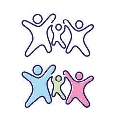 abstract three people icon symbol with children vector image