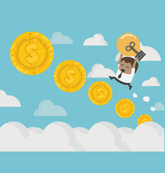 african businessman up the ladder coin steps vector image