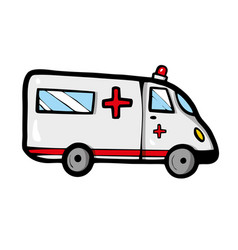 ambulance car on white background cute cartoon vector image