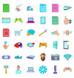App icons set cartoon style vector