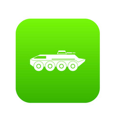 armored personnel carrier icon digital green vector image
