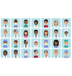 avatars medical characters in flat design vector image