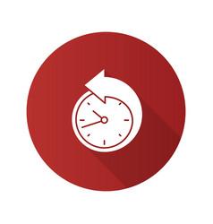 Back arrow around clock flat design long shadow vector