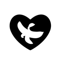 banana in heart black icon lover valentines day vector image