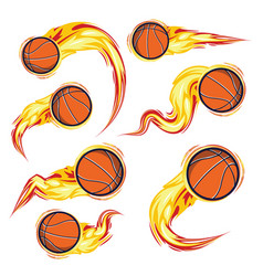 basketball on fire symbols speed set vector image