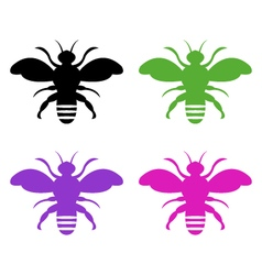 Bee on white background vector