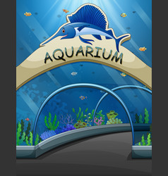 Big aquarium entrance with lives underwater illust vector