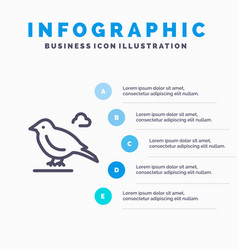 Bird british small sparrow line icon with 5 steps vector