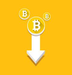 Bitcoin market crash graph on orabge vector