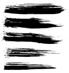 Black ink brush strokes background vector