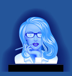 Blonde business woman in glasses in front of the vector