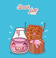 Breakfast cute pancakes and waffle with yogurt vector