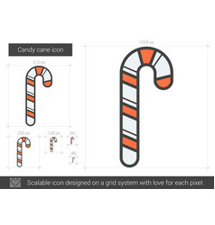 candy cane line icon vector image