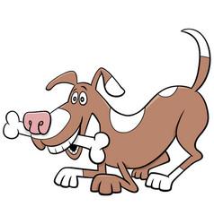 cartoon dog comic animal character with bone vector image