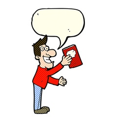 Cartoon man with book with speech bubble vector