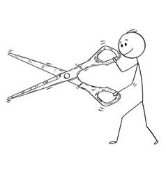 Cartoon of man or businessman cutting with big vector