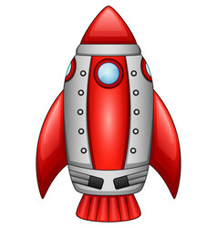 cartoon rocket spaceship isolated on white backgro vector image