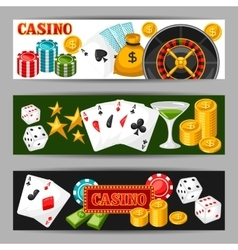 Casino gambling banners or flyers with game vector