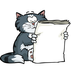 Cat is reading the newspaper vector
