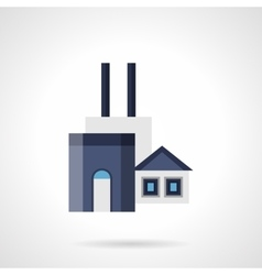 Coal factory flat color icon vector image
