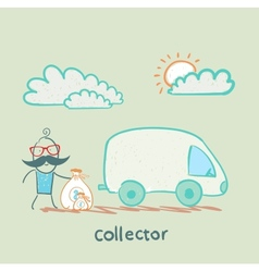 Collector is money in the car vector