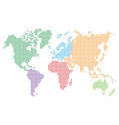colorful dotted world map vector image