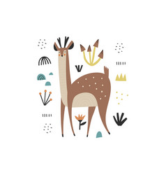 cute hand drawn wild animal character with antlers vector image