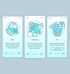 discounts bonuses subscription onboarding mobile vector image