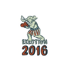 Election 2016 republican elephant boxer etching vector