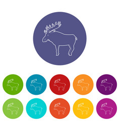 elk icon outline style vector image