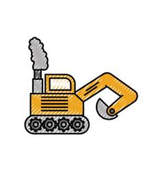 Excavator digger truck construction machine icon vector