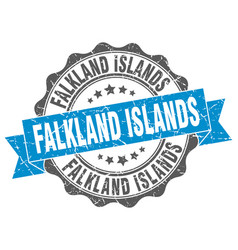 Falkland islands round ribbon seal vector