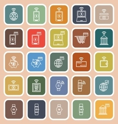 Fintech line flat icons on orange background vector