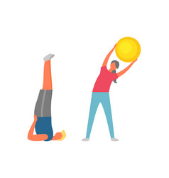 Fitness activities people training and stretching vector